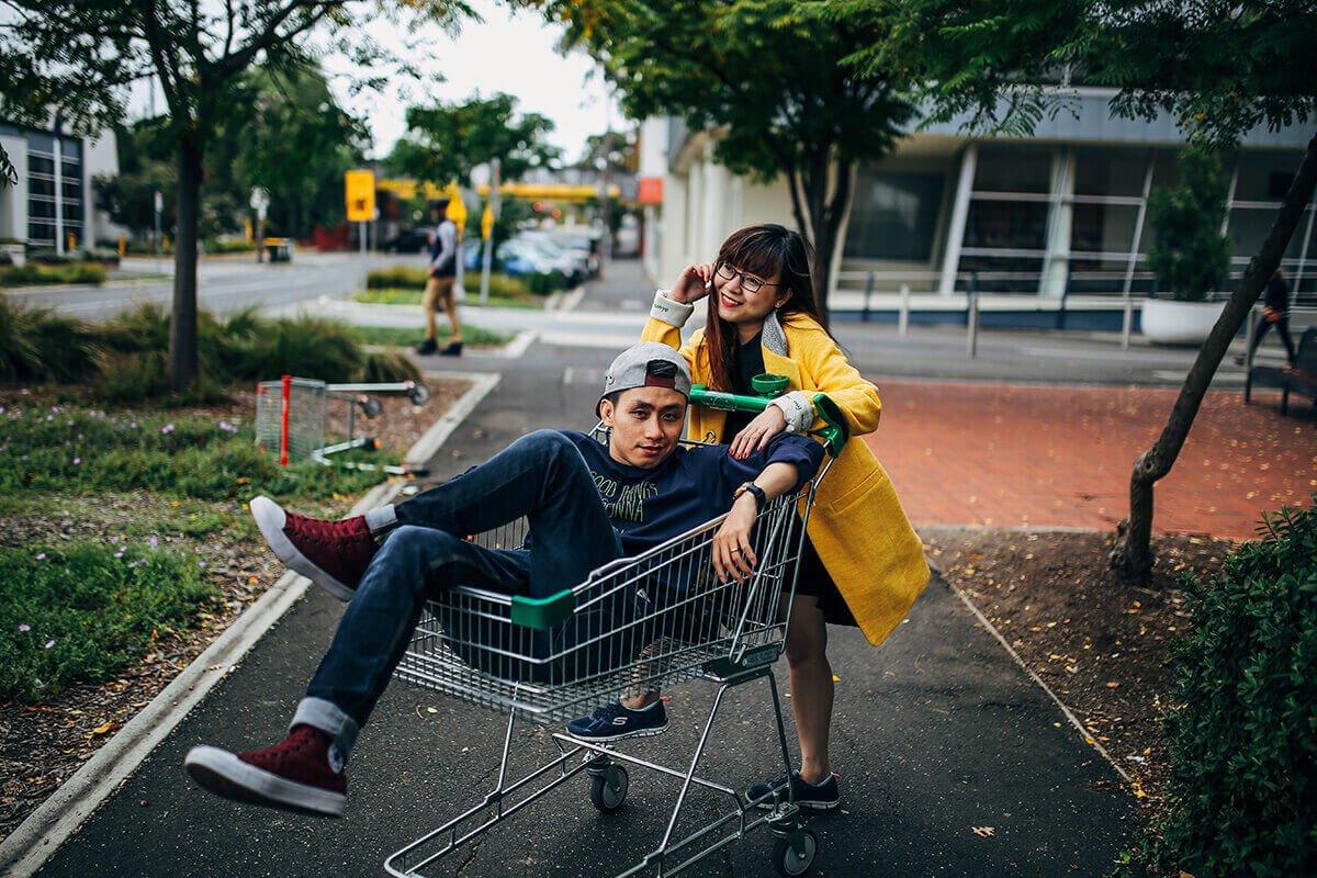 playful man and woman