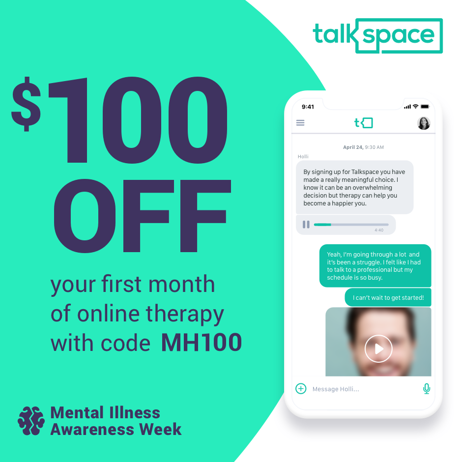 $100 off your first month of online therapy with code MH100.