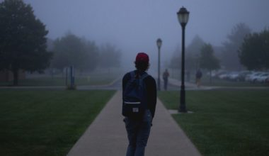 college student walking