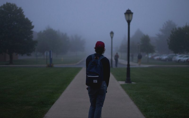college student walking