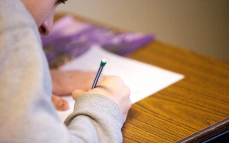 man taking an exam
