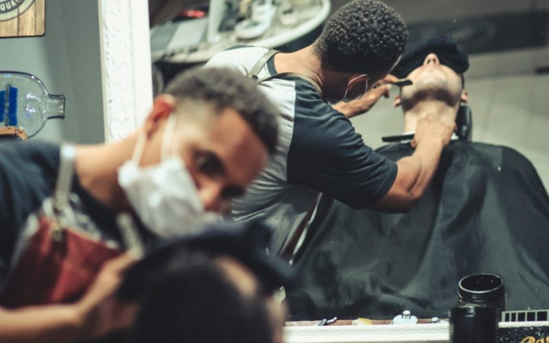barbershop mirror two people interaction