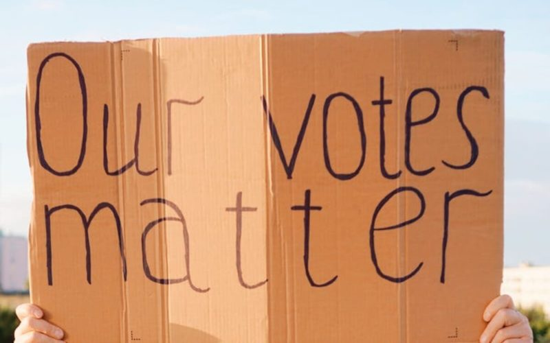 """Our vote matters"" sign"