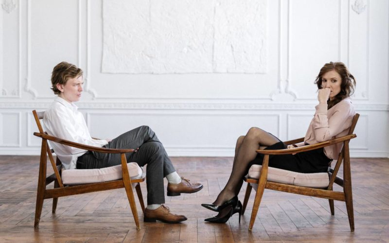 therapist looks traumatized during a session
