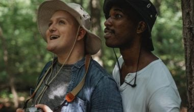 Multiracial, same-sex couple on an outing in nature