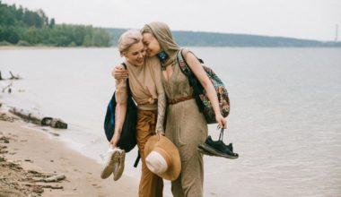 Women backpacking along the coast